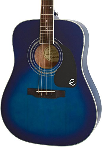 Epiphone Pro 1 Plus Solid Top Acoustic Guitar System for Beginners, Translucent Blue Finish