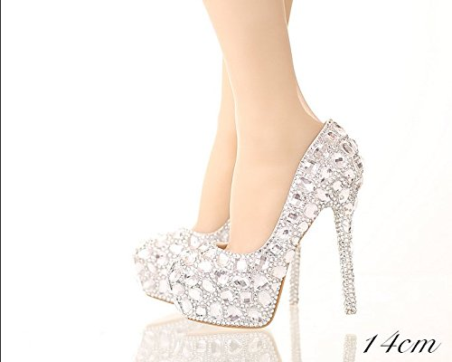 Shoes Heels Big Round Shoes White Waterproof Fine Sandals Bride Heel Wedding Rite Shoes Prom with VIVIOO Rhinestone Ladies 8 Wedding Diamond Crystal 14Cm The fqHFxOwU