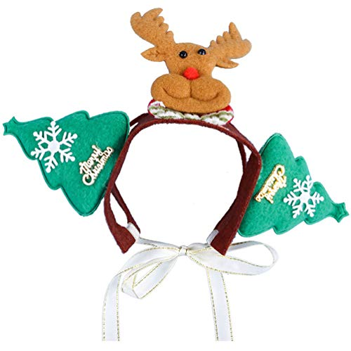 MaruPet Pet Antlers Headband Holiday Christmas Halloween Costume for Dogs Cats Hair Accessories M Green-1 ()