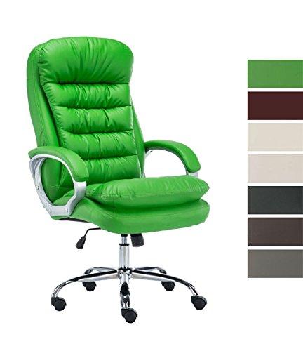 CLP Silla De Oficina Vancouver XXL En Cuero PU I Silla De Escritorio Ergonomica & con Ruedas I Silla Ejecutiva Regulable En Altura I Color: Verde