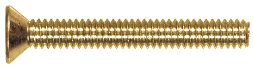 (The Hillman Group 2112 Flat Head Slotted Machine Screw, 10-24 x 2-Inch, Brass, 15-Pack)