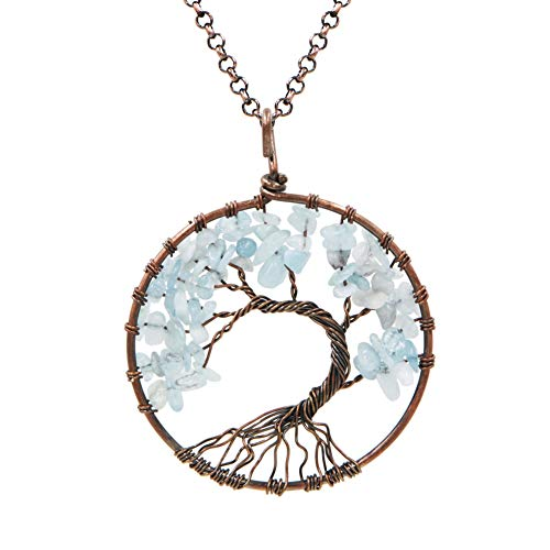 "FANSING Handmade Necklace, Natural Aquamarine Tree of Life Pendant, Copper Wire Wraped, Gifts for Women, 20.5""+ 2.4"" Chain"