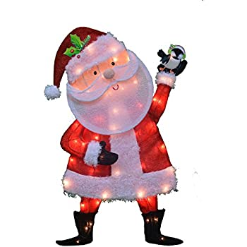 ProductWorks 32 Inch Pre Lit Victoria Hutto Santa Claus Christmas Yard Decoration 50 Lights