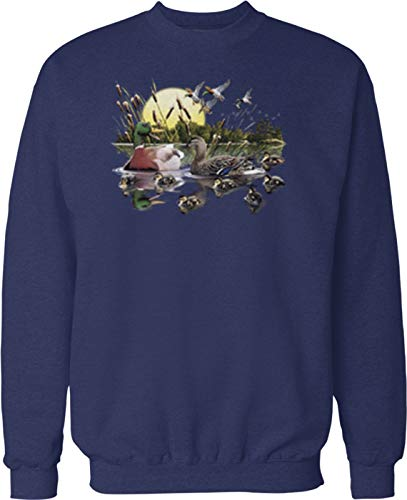 Hoodteez Ducks On A Pond, Duck Hunter Crew Neck Sweatshirt, XXL Navy