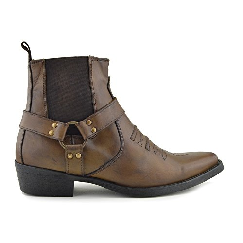 boots Cowboy Footwear Kick Toe Leder Tan 2 Aus Herren Biker Ankle Boots B88nHqO