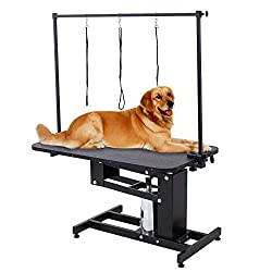 "SUNCOO Pet Dog Grooming Table Heavy Duty Z-Lift Table with Arm Leash Loop Height Professional Adjustable Hydraulic Pump Medium Large Dog 43.3"" L x 24"" W x 21.6-38.9"" H"