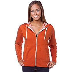 Global Blank Slim Fit French Terry Lightweight Zip Up Hoodie for Men and Women XL Rust Orange