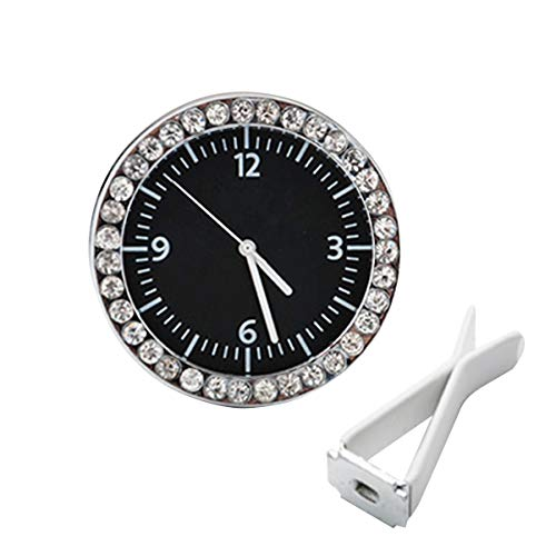 Sakali Mini Car Clock, Table Classic Car Dashboard Small Round Analog Quartz Clock Bling Diamond