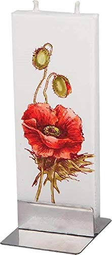 (Red Poppy Motif Twin Wick Handmade Flat Candle Approx 6