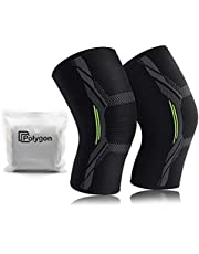 Knee Support Brace 2 Pack, Polygon Knee Compression Sleeve for Running, Arthritis, ACL, Meniscus Tear, Sports, Joint Pain Relief and Injury Recovery
