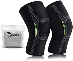 Knee Support Brace 2 Pack, Polygon Knee Compression Sleeve for Running, Arthritis, ACL, Meniscus Tear, Sports, Joint...