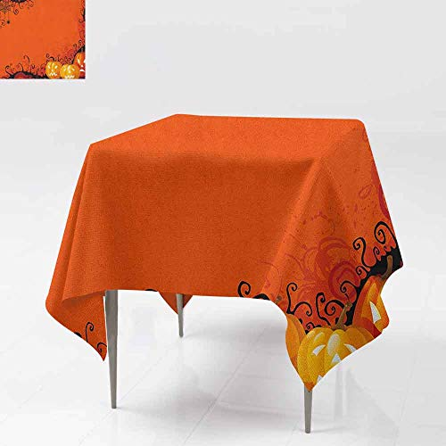 DUCKIL Stain-Resistant Tablecloth Three Halloween Pumpkins Abstract Black Web Pattern Trick or Treat Indoor Outdoor Camping Picnic W36 xL36 Orange Marigold -