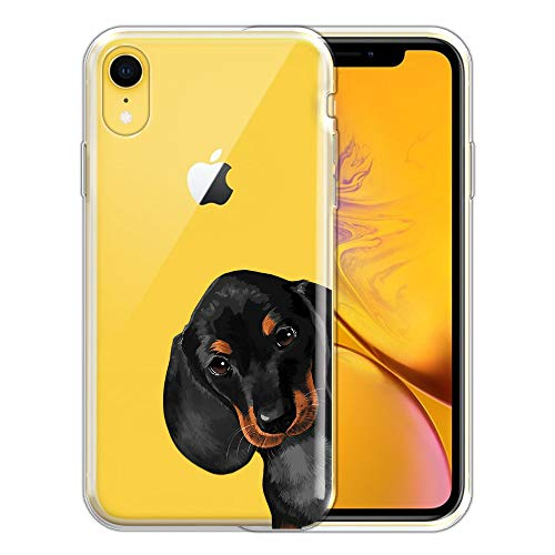 FINCIBO Case Compatible with Apple iPhone XR 6.1 inch, Clear Transparent TPU Silicone Protector Case Cover Soft Gel Skin for iPhone XR - Dachshund Puppy Dog Hide and Seek