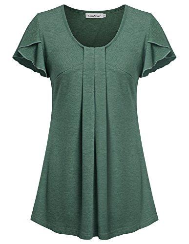 [Lem&Hao Womens Draped Front Tunic Tops Summer Short Sleeves Shirts Green L] (Shirred Puff Sleeve Tops)