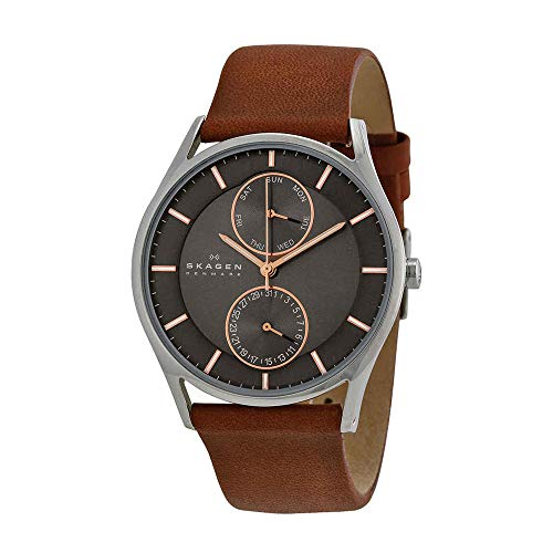 Skagen Men's Holst Quartz Stainless Steel and Leather Casual Watch, Color: Silver-Tone, Brown (Model: - Leather Brown Tone