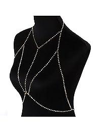 Gprince Sexy Gothic Bra Body Chain Diamond Underwear Necklace Summer Beach Body Jewelry