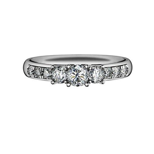 - AMDXD Jewelry Womens Anniversary Rings Triple Round White Cubic Zirconia Bridal Wedding Rings Size 7.5