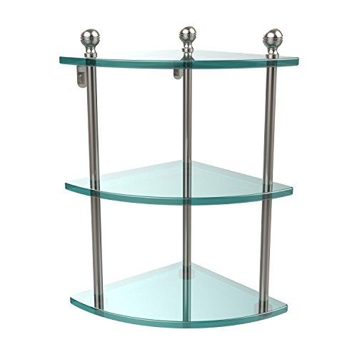 Allied Brass MA-6-SN Triple Corner Glass Shelf Satin Nickel by Allied Brass
