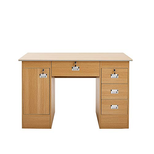 PananaHome Computer Desk with Drawers and Cupboard Execution Study Workstation PC Laptop Gaming Table for Home Office Oak