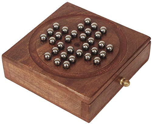Sale on Crafkart Solid Wood Solitaire with Metal Marbles - Handmade Wooden Game with Drawer