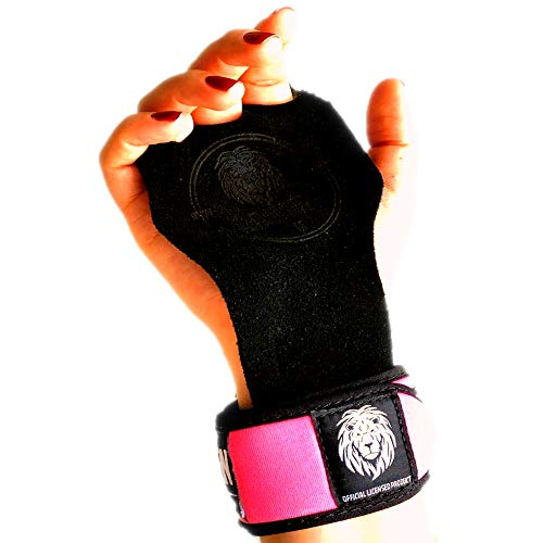- Crossfit Hand Grips and Gymnastics Gloves 3 Hole with Beautiful Black Suede Leather + Neoprene Wrist Support Great for WOD, Pull ups, Weight Lifting, Kettlebell + Free Carry Bag (Small, Pink)