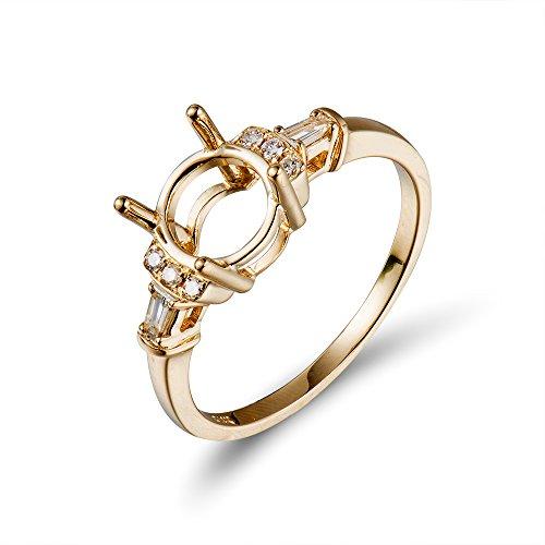 Lanmi 14K Yellow Gold Women's Natural Diamond Round 8mm Semi Mount Engagement Ring