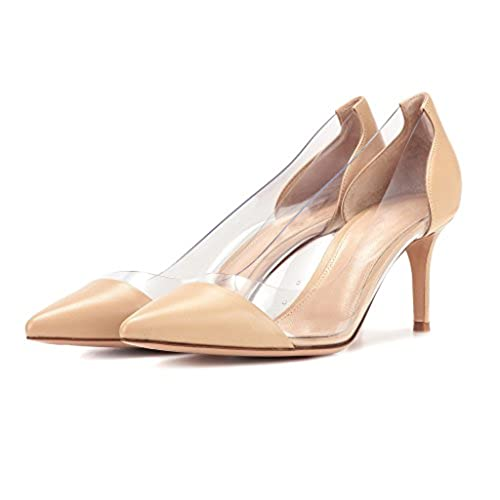 0f175f98223f Sammitop Women s 80mm Pointed Toe Transparent Pumps Clear PVC High Heels  Dress Shoes new