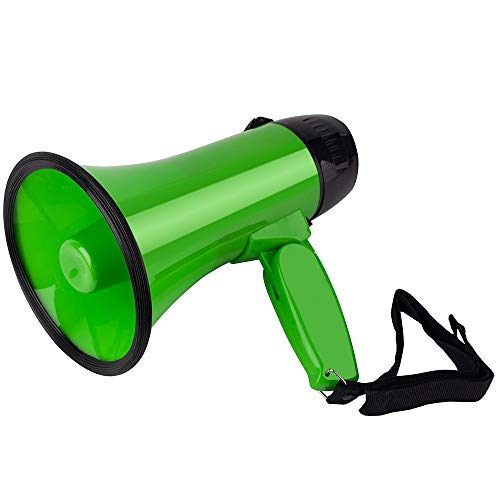 (MyMealivos Portable Megaphone Speaker Siren Record Bullhorn - Compact and Battery Operated with 20 Watt Power, Microphone, 3 Modes, PA Sound and Foldable Handle (Green))