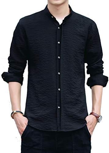メンズ シャツ 長袖 スタンドカラーシャツ 無地 カジュアルシャツ 立て襟 ハンドカラー クールビジ 春秋