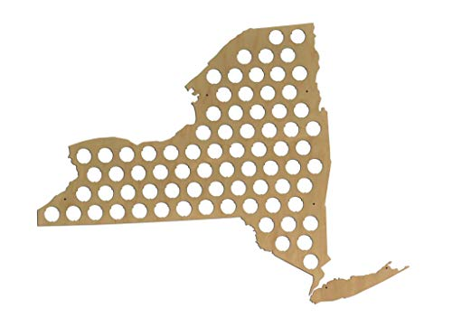 All 50 States Beer Cap Map - New York Beer Cap Map NY - Glossy Wood - Skyline Workshop