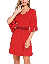 Zeagoo Women's V-Neck Bell Sleeve Sequined Waist Casual A-Line Cocktail Party Dress