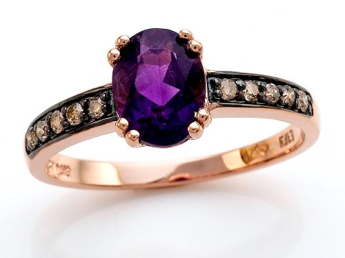 Effy Collection 14k Rose Gold Amethyst Ring Size 5