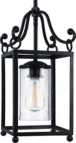 Feiss P1331AF Declaration Glass Pendant Lighting, Iron, 1-Light (8