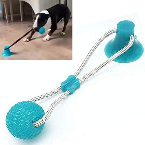 CHARMINER Pet Molar Bite Toy, Multifunction Molar Chew Toy, Durable Self-Playing Rubber Rope Ball Toy with Suction Cup…