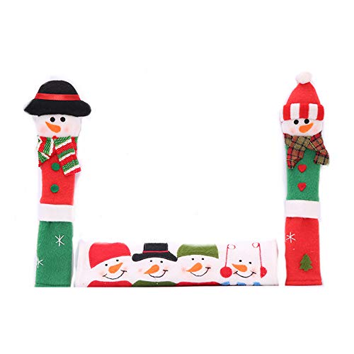 Aardich 3Pcs Christmas Snowman Refrigerator Handle Covers Kitchen Appliance Microwave Oven Anti-Static Handle Covers Christmas Decorations Set-Santa Claus Snowman Handle Covers(Random Color)