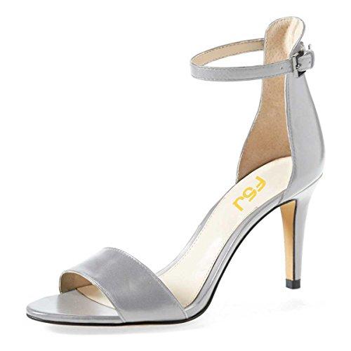 Silver Patent Leather Ladies Sandals - FSJ Women Comfy Open Toe Summer Sandals Ankle Strap Kitten Mid Heels Shoes Patent Leather Size 7 Silver-Matte