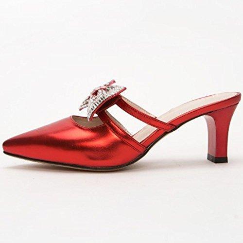 su Donne Mules rosso Zanpa Sandali Scivolare Heels Mode SRXWwq4