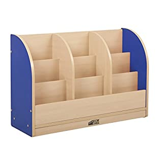 ECR4Kids Colorful Essentials Single-Sided Book Display Cabinet - Toddler - Maple/Blue