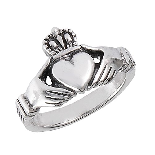 Sterling Silver Women's Celtic Claddagh Heart Traditional Friendship Ring (Sizes 5 - 13) (Ring Size 8)