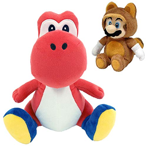 (Jumbo Life Size Red Yoshi 15'' with Tanooki Mario 8'' Plush Bundle)