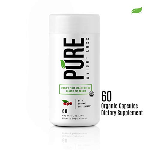 (Pure Weight Loss USDA Organic Thermogenic Fat Burner-Clean Effective Powerful Diet Supplement- Burn More Calories, Boost Metabolism, Mood, Energy+Focus -100% Organic,Vegan, Gluten Free, NonGMO)