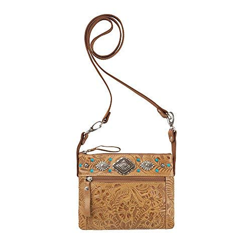 American West Women's Trail Rider Crossbody Bag Tan One Size