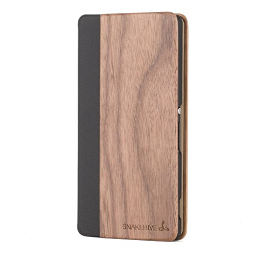 Snakehive Sony Xperia Z3 Wooden Wallet Case Cover for Sony Xperia Z3 - Made from Real Wood and PU Leather (Walnut)