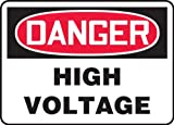 """Accuform Signs MELC113VP Plastic Safety Sign, Legend """"DANGER HIGH VOLTAGE"""", 7"""" Length x 10"""" Width x 0.055"""" Thickness, Red/Black on White"""