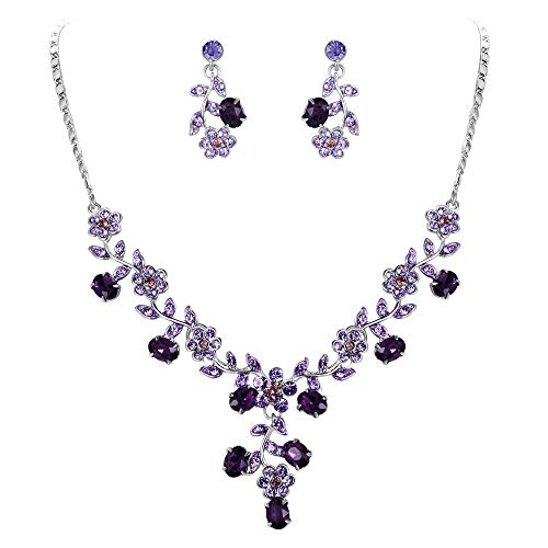 EVER FAITH Flower Leaf Necklace Earrings Set Austrian Crystal Silver-Tone - Purple