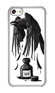 Apple Iphone 5C Case,WENJORS Cute Ink Raven Hard Case Protective Shell Cell Phone Cover For Apple Iphone 5C - PC Transparent