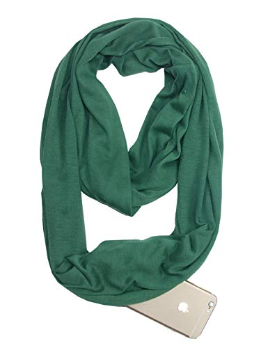 Fashion Solid Color Scarf for Women Infinity Scarf with Zipper Pocket, Best Travel Scarf Green