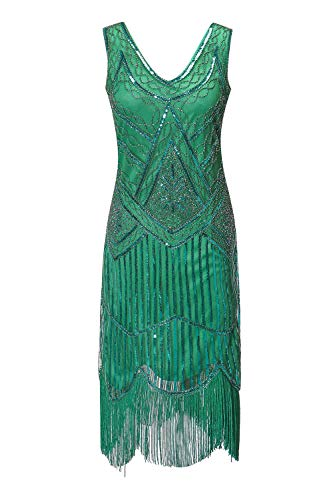 Women's 1920s Gatsby Cocktail Sequin Beaded V-Neck Fringed Tassels Hem Flapper Dress (S, Light Green)