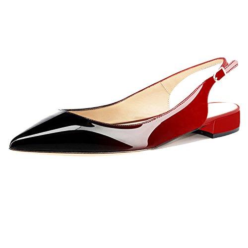 Eldof Women Low Heels Pumps | Pointed Toe Slingback Flat Pumps | 2cm Classic Elegante Court Shoes Black-Red US9.5