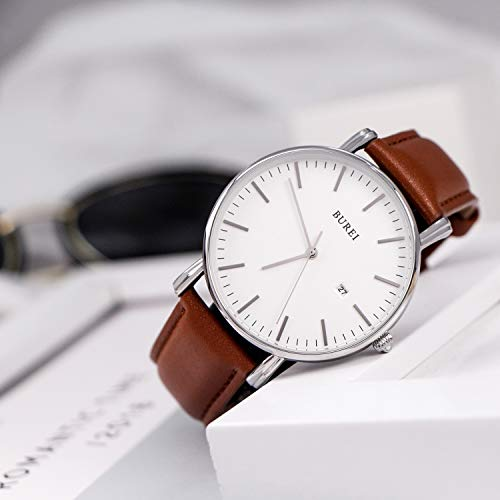 BUREI Men's Fashion Minimalist Wrist Watch Analog White Date with Brown Leather Band (Silver Brown)